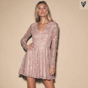 NWT Lulus Mauve Pink Sequin Lace Skater Dress